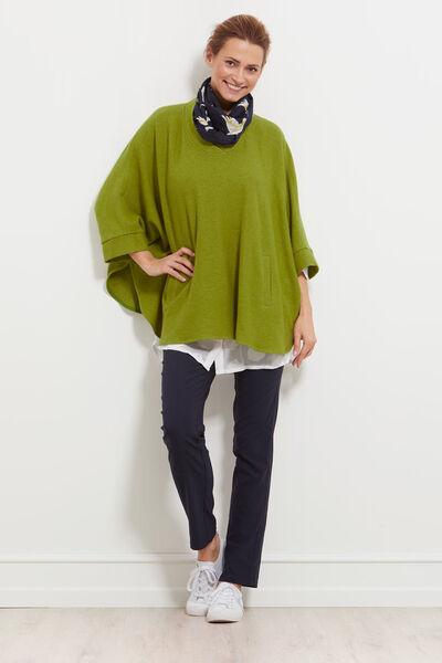 TAVITA PONCHO, DARK LIME, hi-res